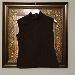Vince Camuto black sleeveless mock turtle NWOT AS
